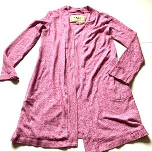 UGG pink long cardigan duster pockets size small
